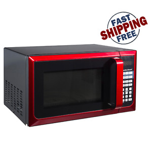 Countertop Microwave Stainless Steel Home Office LED Oven 900W 0.9 Cu Ft. RED