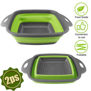 Collapsible Colander Set of 2 Over The Sink Silicone Large Strainer Pasta Veg US