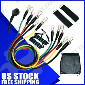11pcs Set Pull Rope Exercise Resistance Bands set Home Gym Equipment Fitness US