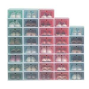 12 Pack Shoe Box Stackable Storage Case Durable Plastic Foldable Shoes Organizer