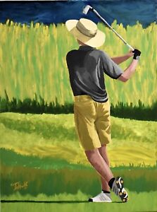"Original Painting signed ""5 Under"" Golf Golfers Golfing $2500.00"