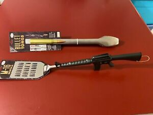 Novelty Barbeque 2pc Set M16 Spatula & Bullet Tong, Heavy duty, Stainless Steel