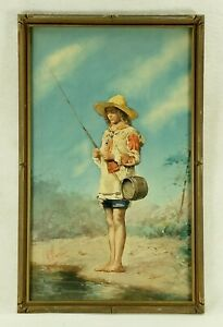 Antique Signed Italian Watercolor Painting of a Young Boy Fishing $250.00
