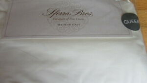 Sferra Italian Percale 100% Long Staple Cotton Queen Sheet Set 200 TC Ivory