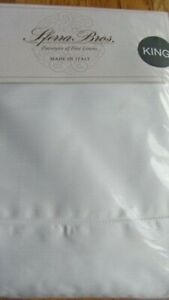 Sferra Italian Sateen 100% Cotton 300TC King Sheet Set Solid White