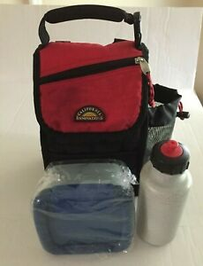 CALIFORNIA INNOVATIONS Insulated Soft Shell Lunch Bag Box Blk Red 16oz. Bottle