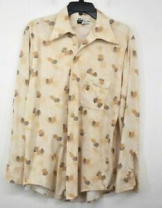 Vintage JCPenney Mens Dress Sport Shirt Long Sleeve Fall Leaf Button Front L $24.12