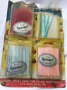 Vintage Colorful Plastic Party Food Toothpicks