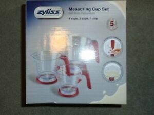 Zyliss 3-Piece Measuring Cup Set - 4 Cups, 2 Cups & 1 Cup - Sliding Scale - NEW.