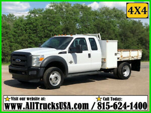 2012 Ford F550 4X4 6.7 POWERSTROKE DIESEL 9' FLATBED TRUCK Used Extended Cab