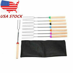 8Pc Telescoping BBQ Marshmallow Roasting Sticks Smores Skewers Hot Dog Fork USA