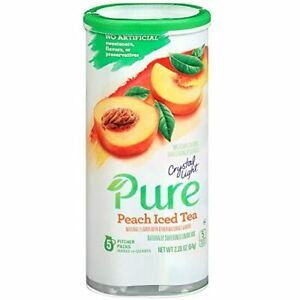 Crystal Light Pure Peach Iced Tea Powdered Drink Mix, Caffeine Free, 2.28 Oz Can