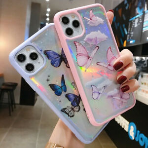 iPhone 12 11 Pro Max 8 7 Plus XS Max XR Bling Glitter Butterfly Cute Case Covers
