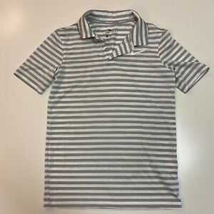 Nike Golf Dri Fit Polo Boys Size S Small Gray and White Striped Shirt $18.00