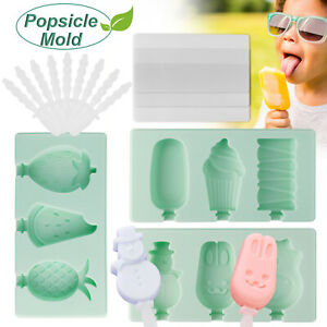 3 Cell Silicone Frozen Popsicle Mold Juice Fruit Ice Cream Pop Maker + 3 Sticks