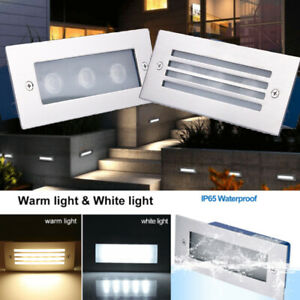 LED Stair Step Well Light Outdoor In Ground Garden Waterproof Pathway Wall Lamp $11.98
