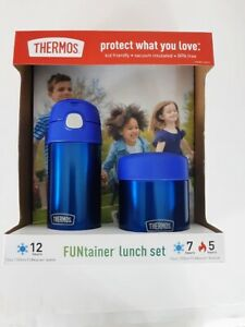 FUNtainer Thermos Lunch Set Blue 12 oz Bottle and 10 oz Food Jar Kids Friendly