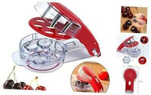Locisne Revolutionary Cherry Pitter Olive Tool - 6 Cherries Red Remover with Pit