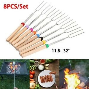 32'' Telescoping BBQ Marshmallow Roasting Sticks Skewers Hotdog Extend Fork 8PCS
