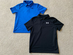 UNDER ARMOUR Heat Gear Youth Large Polo Shirt Golf Dress Casual Lot of 2 $39.99