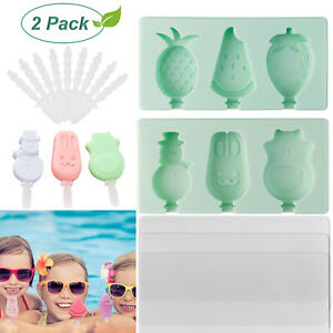 2Pack 3 Cell Silicone Popsocle Mold Sticks BPA Free Reusable Ice Pop Cream Maker