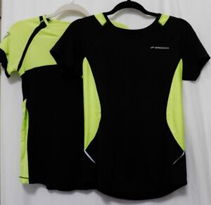 BROOKS RUNNING Top Womens M Tee Black Lime Reflective Striped Athletic Shirt $18.95