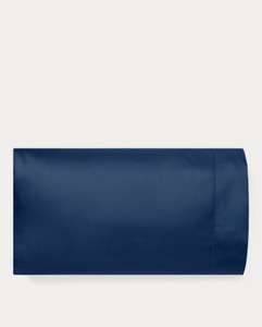 NIP Two (2) RL624 King-Size Navy Polo Blue Pillowcases Ralph Lauren Solid Sateen
