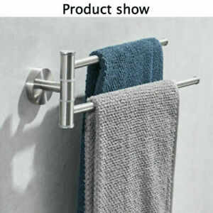 Stainless Steel Wall Mount Rotary Towel Rack W/ 2 Swivel Bar Hanger Shelf Holder