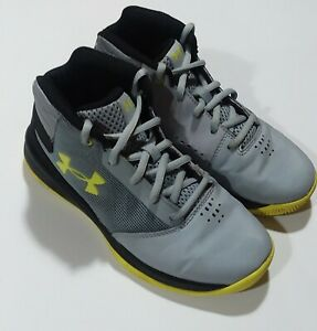 Under Armour Jet Kids Basketball Shoes Gray Black Mid Top Sneakers 9.5 kids $14.95
