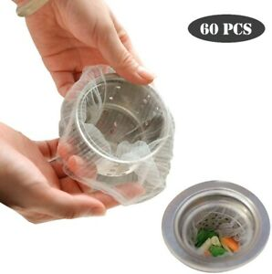 60Pcs Disposable Mesh Sink Strainer Bags for Kitchen & Bathroom Hair Filter USA
