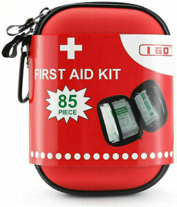 Compact First Aid Kit Hard Shell Case Hiking Camping Car 85 Pieces