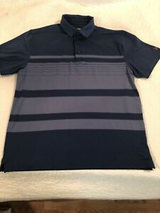 Under Armour Polo Golf Shirt Blue Striped Short Sleeve Size XL $14.00