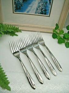5   International Silver Superior  DYNAMIC  Stainless Steel Dinner Forks   XLNT