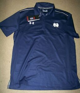NWT Under Armour Golf Polo Shirt Men's LG Large Notre Dame Navy Blue $24.99