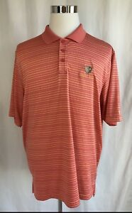 Under Armour Men's Polo Shirt L Large Pink Peach Striped Golf S S Top LC01 $9.74