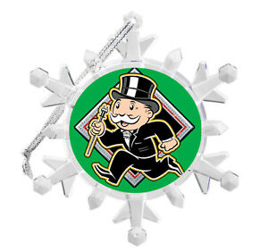 Monopoly Rich Uncle Pennybags Snowflake Blinking Holiday Christmas Tree Ornament