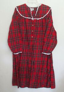 Lanz of Salzburg Red Plaid Flannel Granny Nightgown Size M $24.95