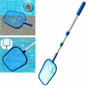 Swim Pool Net Mesh Leaf Rake Skimmer W/Telescopic Pole Pools Spas Cleaner