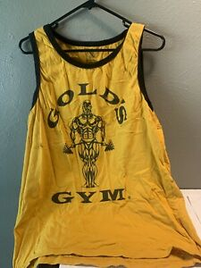 Vintage Golds Gym MUSCLE Men's Tank Top Yellow Strong Guy Made in USA Large $29.99