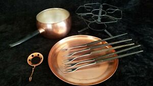 Vintage Copper Fondue Pot, Stand, Tray, with 5 Forks