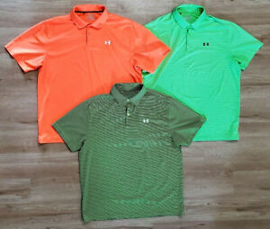 Under Armour Mens Polo Size 2XL Loose Fit Heat Gear Lot of 3 Green Orange $59.99