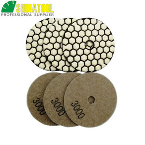 6pcs dia 80mm #3000 Hex type 3inch diamond dry polishing pad  without water