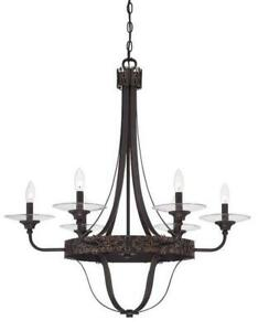 Craftmade Amsden 6 Light Single Tier Aged Bronze with Gold Chandelier/Pendant