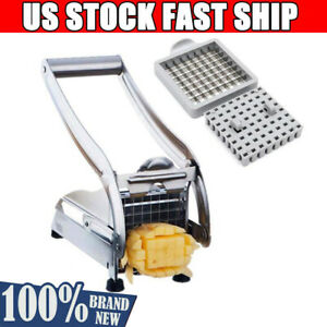 Stainless Steel French Fry Cutter Chopper Vegetable Potato Slicer Dicer 2 Blades