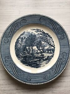 """Currier and Ives """"The Old Grist Mill"""" 10"""" Dinner Plate Vtg by Royal Blue $6.10"""