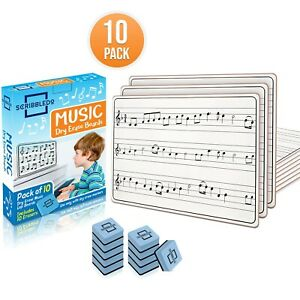 10 Pack Dry Erase Staff Music Lap White Boards 9X12 l Write Musical Notes a...