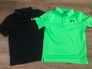 LOT BOYS UNDER ARMOUR GOLF POLO SHIRTS BLACK GREEN YLG LARGE $27.99
