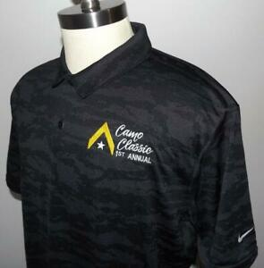 NWT Men's NIKE GOLF Dri Fit Performance Polo SHIRT XL Black Gray Camo NEW $29.44