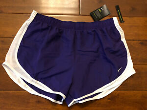 NWT New Womens Nike Tempo Running Purple White Dri Fit Shorts Size XL $23.99