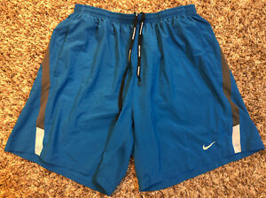 NIKE Dri Fit Mens L Large Running Shorts Blue Summer Athletic Gym Pouch Support $24.99